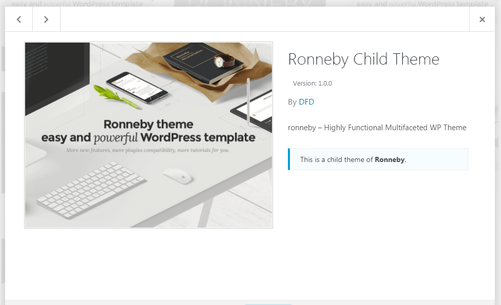 Child Theme – Ronneby support